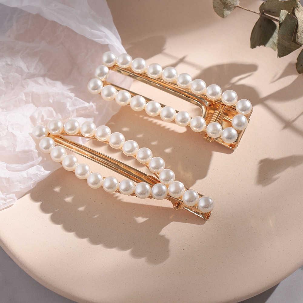 Alloy Barrettes Girls Hair Elegant Geometric Pearl Hairpins for Women Sweet Geometric Hair Clips Accessories Hair Grips Headwear