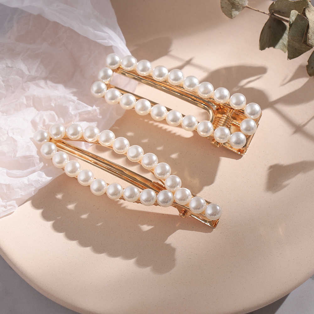 Elegant Geometric Pearl Hairpins for Women Sweet Geometric Hair Clips Alloy Barrettes Girls Hair Accessories Hair Grips Headwear