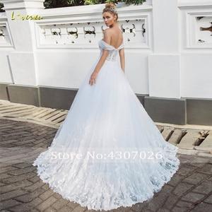 Image 2 - Loverxu Sweetheart A Line Wedding Dress Elegant Applique Off The Shoulder Backless Bride Dress Sweep Train Bridal Gown Plus Size
