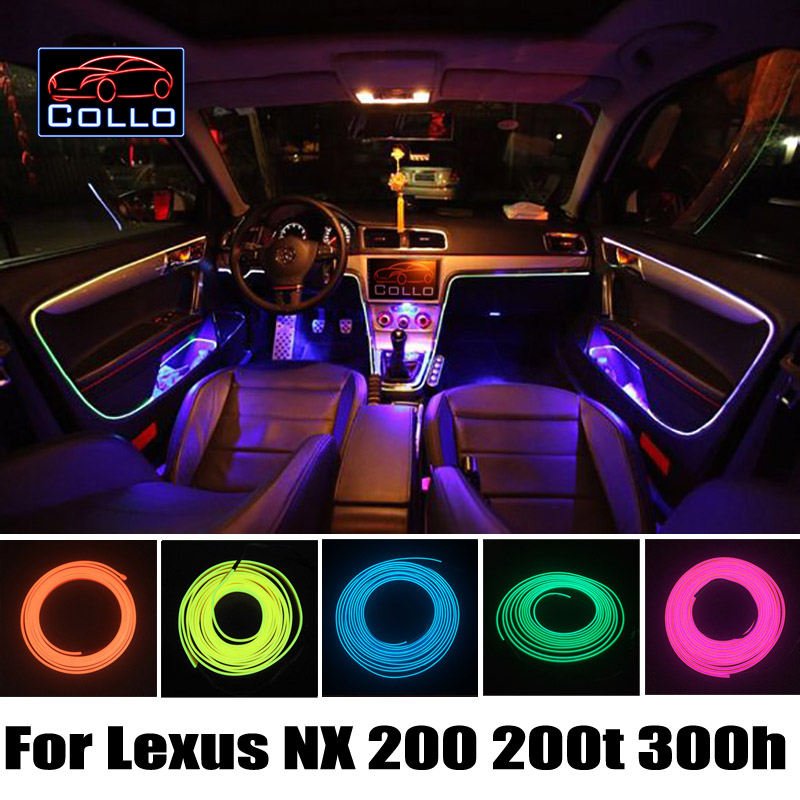 Newest For Lexus NX 200 200t 300h / RC F / Car Decoration Cold Light Atmosphere Lamp / 9M EL Wire / Car Console Decorative Strip