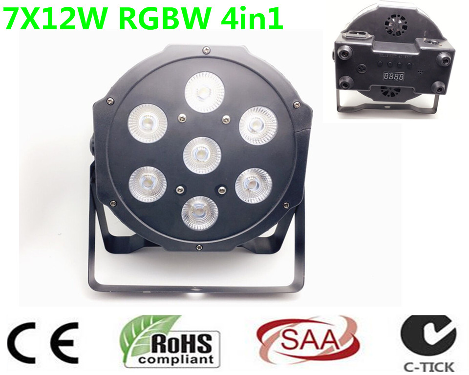 10 pz/lotto, CREE RGBW 7x12 W LED Flat SlimPar Quad Luce 4in1 LED DJ Wash Stage Light dmx luce della lampada 4/8 channes толстовки luce della vita толстовка