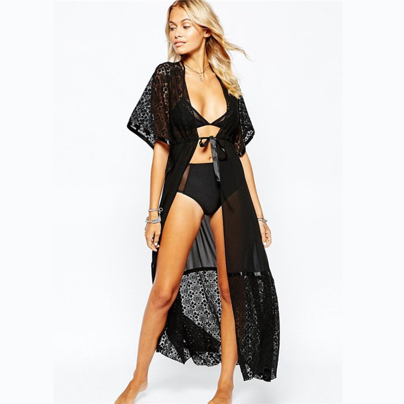 2018 Lace Kaftan Beach Cover Up Bikini Women Cardigan Pareo Bathing Suit Chiffon Swimsuit tunic Playa Long Dress Beach Wear