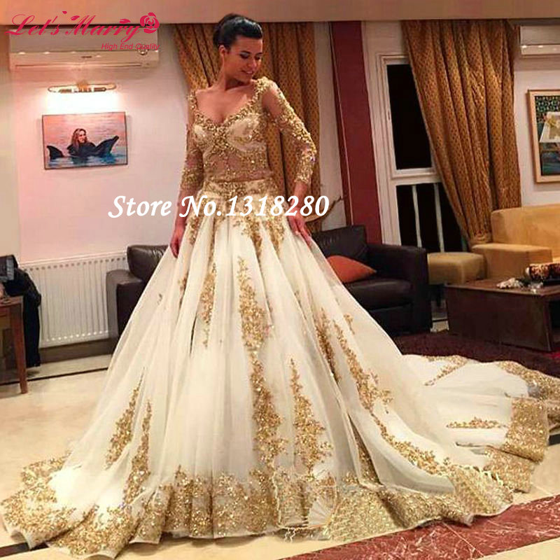 Custom Made Luxury Vintage Lace Hot Sleeve Gold Ball Gown Wedding Dresses 2017 Plus Size Bridal Gowns Vestido De Noiva W266 In From