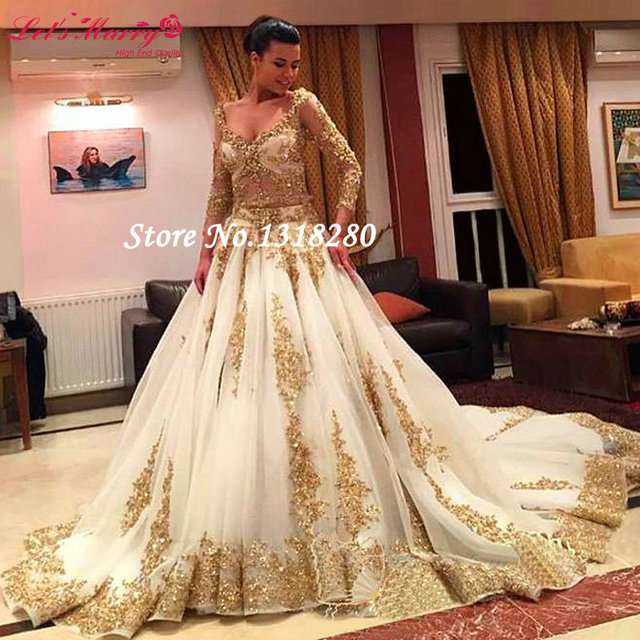Custom Made Luxury Vintage Lace Hot Sale Sleeve Gold Ball Gown ...