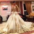 Feito sob encomenda Luxuoso Do Laço Do Vintage Venda Quente de Ouro de Manga Comprida vestido de Baile vestidos de casamento 2017 plus size Vestidos de Noiva vestido de noiva W266