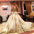 Por Encargo de Lujo Del Cordón Del Vintage de La Venta Caliente Balón vestido de Oro de La Manga vestidos de novia 2017 más el tamaño de Vestidos de Novia vestido de noiva W266