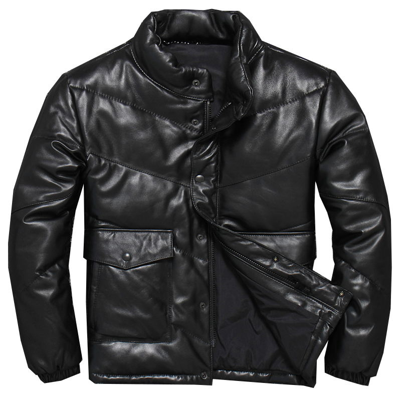 Down-Jacket Harley Damson Genuine Sheepskin Russian Winter Short Thick Black Stand Xxxl-Stand-Collar
