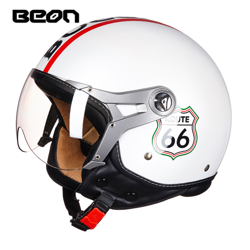 BEON motorcycle helmet Vintage Route 66 open face helmet Scooter 3/4 helmet ECE approved harley moto casco Motorbike capacete