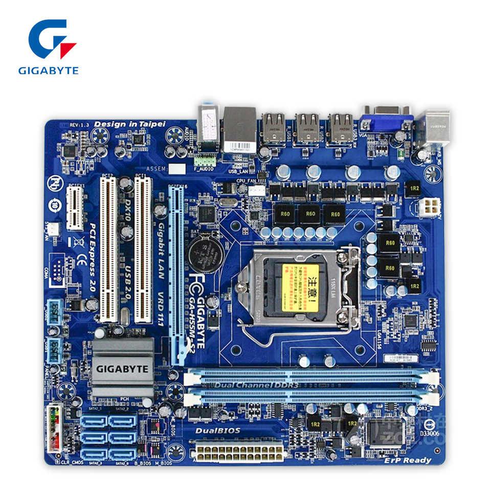 Gigabyte GA-H55M-S2 Desktop Papan Utama H55M-S2 H55 LGA 1156 Core I7 I5 I3 DDR3 8G SATA2 USB2.0 Vga Mikro ATX