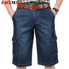 LONMMY 30-44 Джинсы шорты мужчины Militay стиль Нескольких карман Случайные джинсовые шорты мужская одежда Прямые грузовые доска 2017 лето