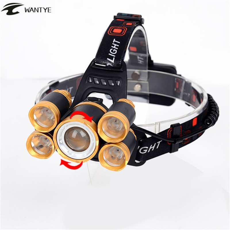 WANTYE Headlamp Zoomable LED Head Lamp Flashlight 15000Lm XML T6+4R5 Head Torch lantern Rechargeable 18650 Headlight For Camping 3 xml t6 2 blue light led headlamp 15000lm usb rechargerable led headlight head lamp 5 mode head torch for fishing lantern light