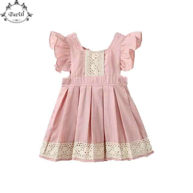 d0af6490af7ce Sweet Girls Dress Summer Ruffle Sleeve Becautiful Baby Girls Clothes Ruffle  Lace Little Girls Boutique Clothes Kids Dresses-in Dresses from Mother & ...
