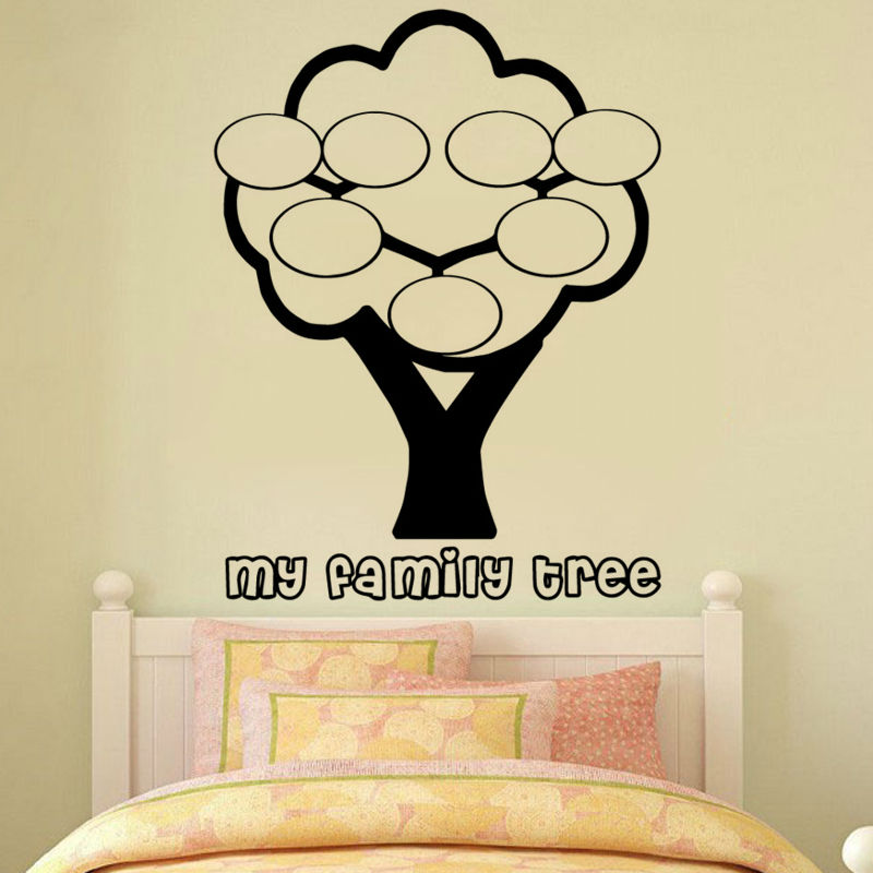 Living Room Wall Sticker Family Tree Photo Frame Simple Hollow Out Vinyl Self Adhesive Home Decor