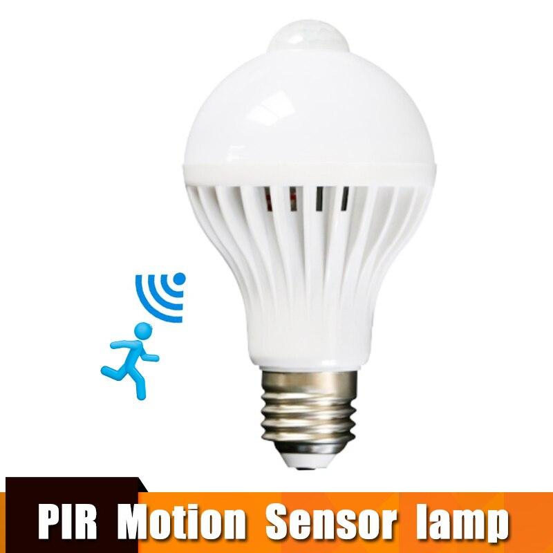 Led Bulb With Motion Sensor Smart Light Bulb E27 100-240V Led Lamp Light Bulb 3w-9w PIR Infrared Body Sound Light For Home Stair