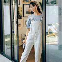 2019 Women Jumpsuit Romper Sleeveless Casual Playsuits Girls Straight Plus Size Loose Cotton Jumpsuit Solid Color Black A118