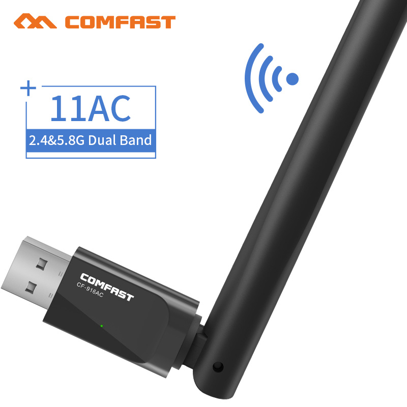 COMFAST CF-916AC AC600 Dual band 2.4 + 5.8 Ghz Mini USB Adaptador Sem Fio Wi-Fi wi fi Dongle 600 Mbps PC adaptador Wi Fi Receptor