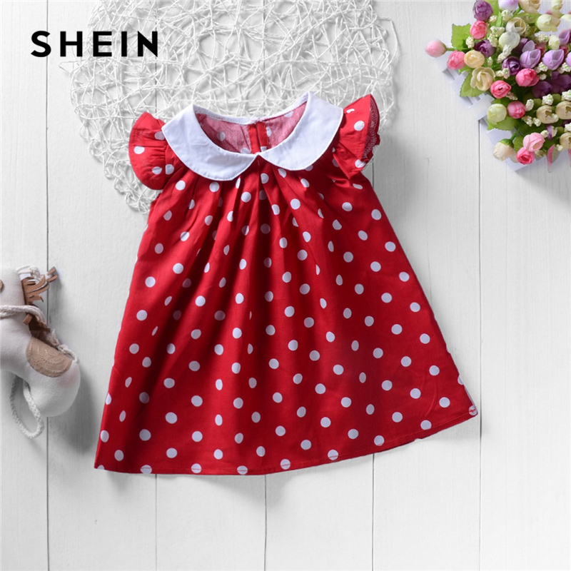 SHEIN Kiddie Red Ruffle Polk Dot Cap Sleeve Toddler Girls Dress 2019 Summer Cute Flared Shift Preppy Girl Party Kids Dresses summer toddler kids girls dress off shoulder ruffles lace dresses solid white baby girl clothes princess costume 2 7y