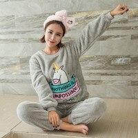 Volwassen Vrouwen kawaii Eenhoorn Flanel Pyjama Suit Sets Cartoon Dier Dikke Bundel Pluche Pijama Kostuum Nachtjapon Hansop Roze