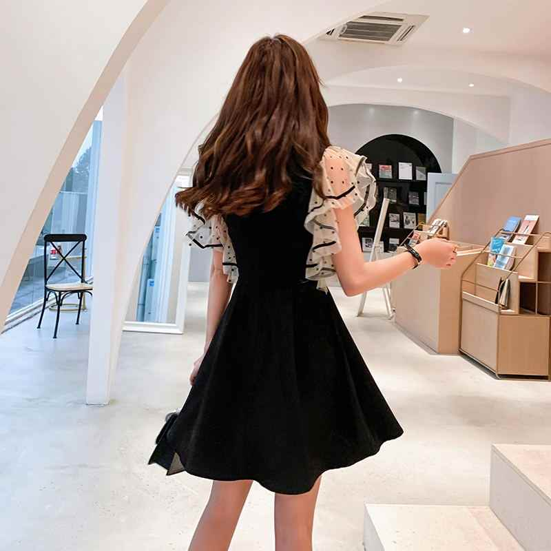 2019 летние для женщин платья для однотонные черные повседневное корейский короткий рукав праздник Midi Flare платье с коротким и