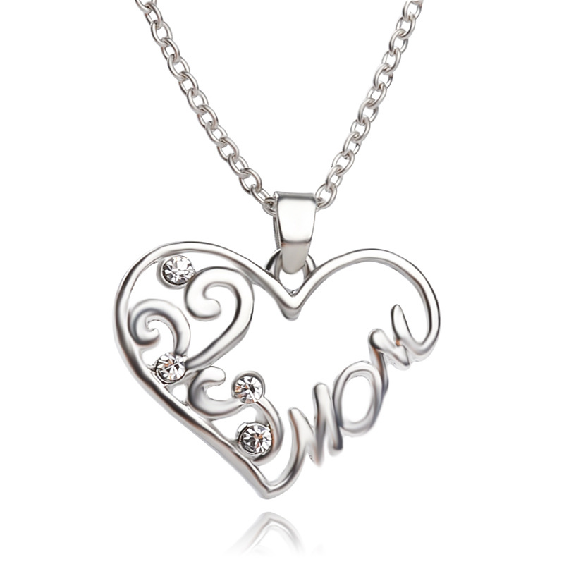 "Silver heart-shaped ""mom"" hollow crystal pendant necklace, mother the best gift, holiday Christmas gifts, free shipping"
