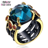 DC1989 Women Big Stone Wedding Ring Blue Siam Cubic Zirconia Bezel Setting 18K Gold Black Plated