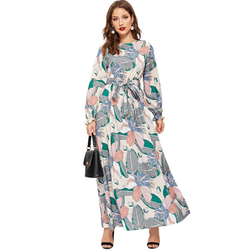 0ac021bdcd Detail Feedback Questions about SHEIN Keyhole Back Belted Flower Print  Round Neck Multicolor A Line Dress Abaya Office Lady Women Long Sleeve  Dresses on ...