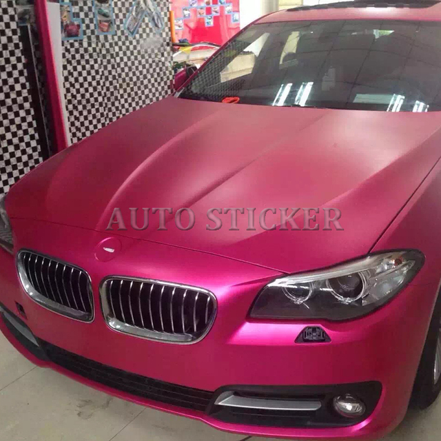 Rose Red Matte Metallic Chrome Vinyl Car Wrap With Air Bubble Free Satin  Red Car Wrap Film Covering 1.52 5 10 15 20m e7521f132a15