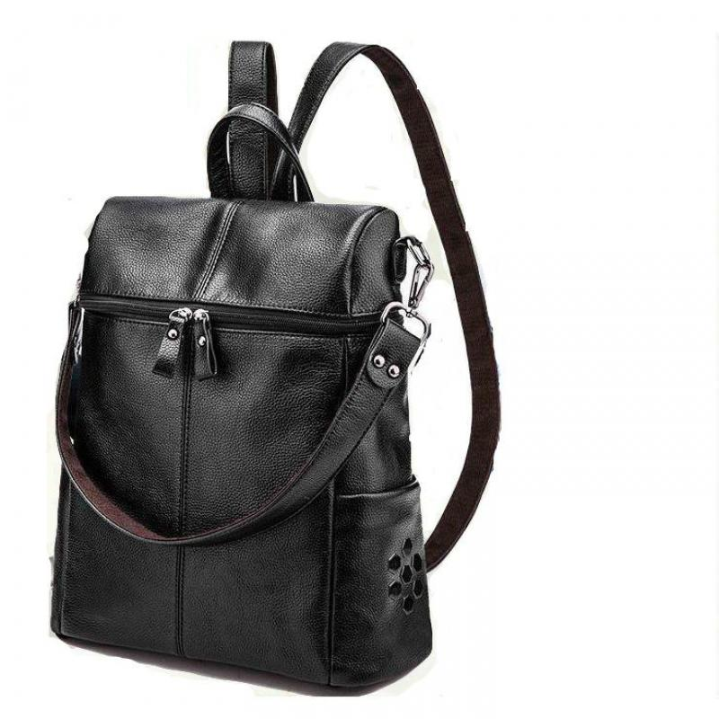 The New Summer Korean Version Genuine Leather Female Backpack Second Layer Cow Leather Multi-function Backpack Preppy style bag
