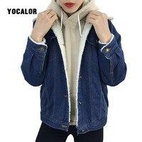 Autumn Winter Lambs Wool Denim Jacket Women Oversize Female Plus Size Cotton Jacket Jeans Coat Outwear Chaqueta Mujer Streetwear