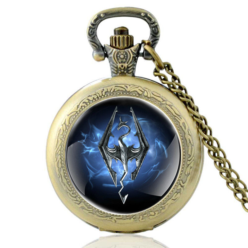 Vintage Bronze The Elder Scrolls V Skyrim Theme Quartz Pocket Watch Classic Men Women Necklace Watches