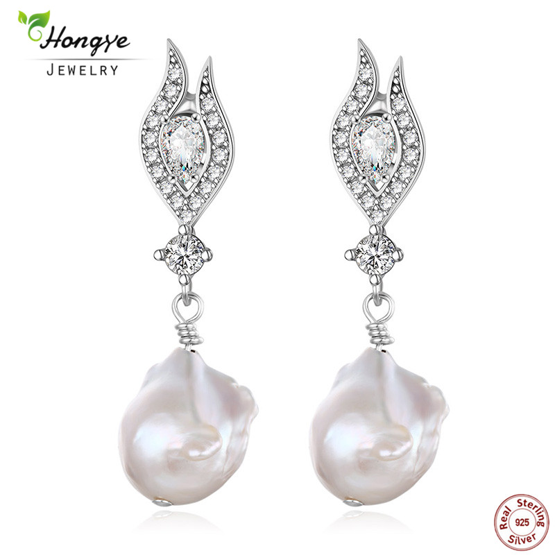 Hongye Mothers day gift! Natural Freshwater Irregular Pearl 925 Sterling Silver Drop Earrings For Women For Love Mom Gift BoxHongye Mothers day gift! Natural Freshwater Irregular Pearl 925 Sterling Silver Drop Earrings For Women For Love Mom Gift Box