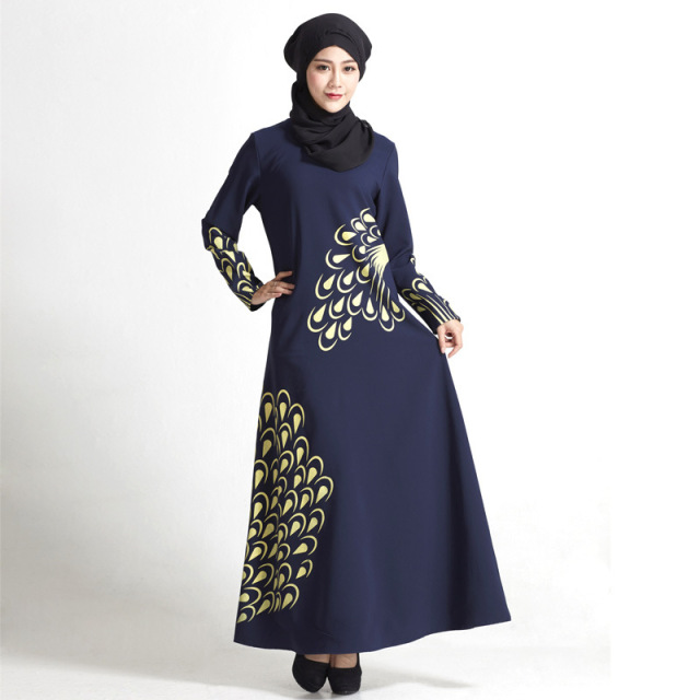 Fashion Muslim Dress Loose Islamic Dress Long Sleeve ...