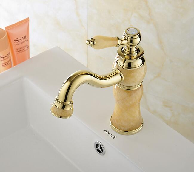 Retro Marble Basin Faucets Bathroom Single Handle Hot And Cold Water Taps Mixer Bath Wahbasin