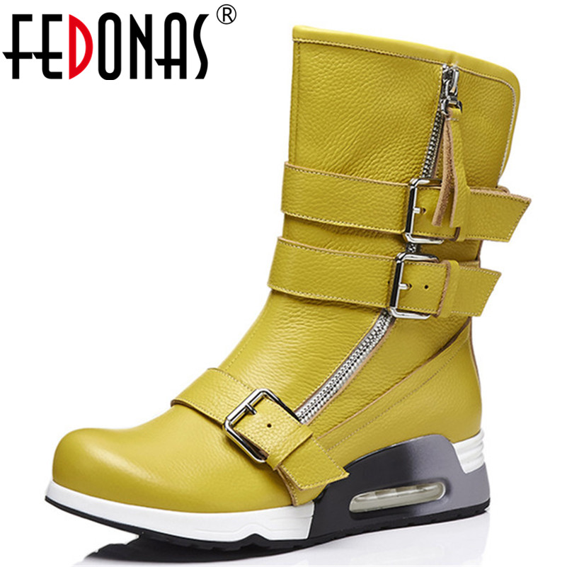 FEDONAS Newest Women Wedges High Heels Mid-calf Boots Buckles Punk Motorcycle Boots Ladies Soft Leather High Warm Boots trendy women s mid calf boots with splicing and buckles design