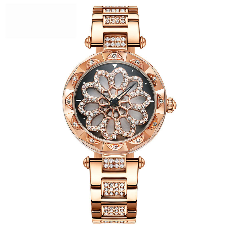 Full Diamond Rotating Watches Woman Quartz Watch Ladies Fashion Watch Rose Gold Waterproof Clock Brand Luxury Table Reloj Mujer luxury pear shell dial ladies watches fashion green quartz women watch rose gold milan mesh belt waterproof watch reloj mujer