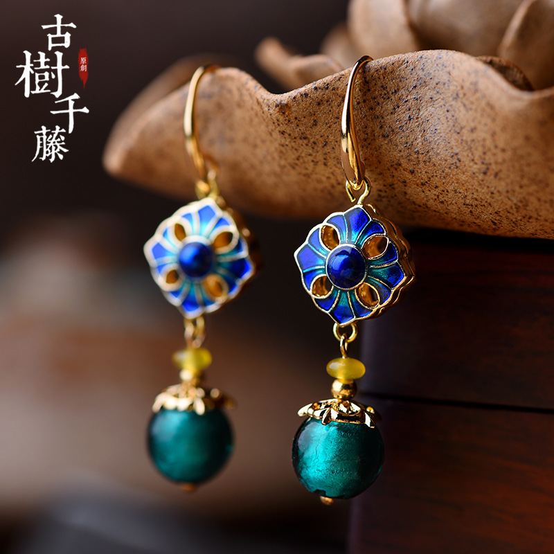 Vintage earrings Cloisonne Stone Drop Earrings for Women Square Charms Hanging Earrings Ethnic fashion jewelry 2018 New Arrival
