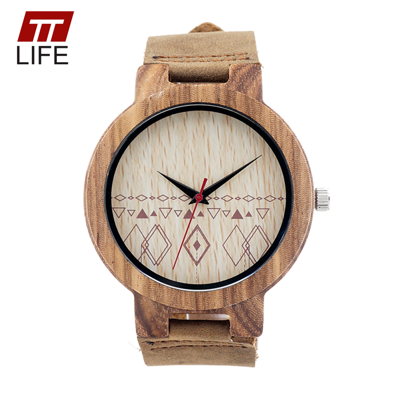 ФОТО TTLIFE Men Fashion Square Pattern Wood Dial Wood Quartz Watch Bamboo Watches Buckle Real Leather Strap Casual Quartz Watch WD269