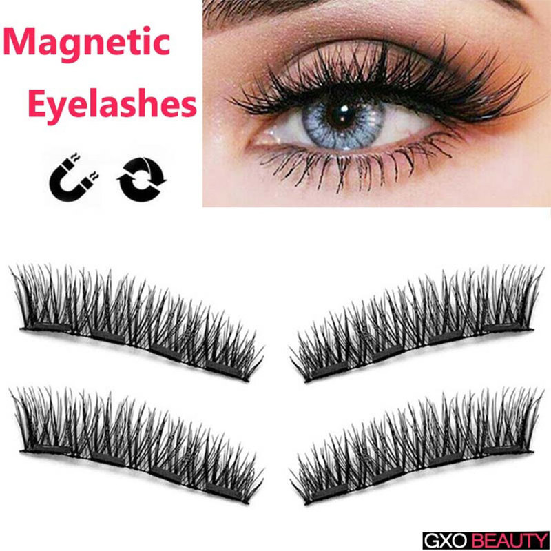 2aeb76aa35a GXO BEAUTY Four Magnetic Eyelashes on Magnets Reusable Four Magnetic  Extension Fake Eye Lashes Soft Easy To Wear