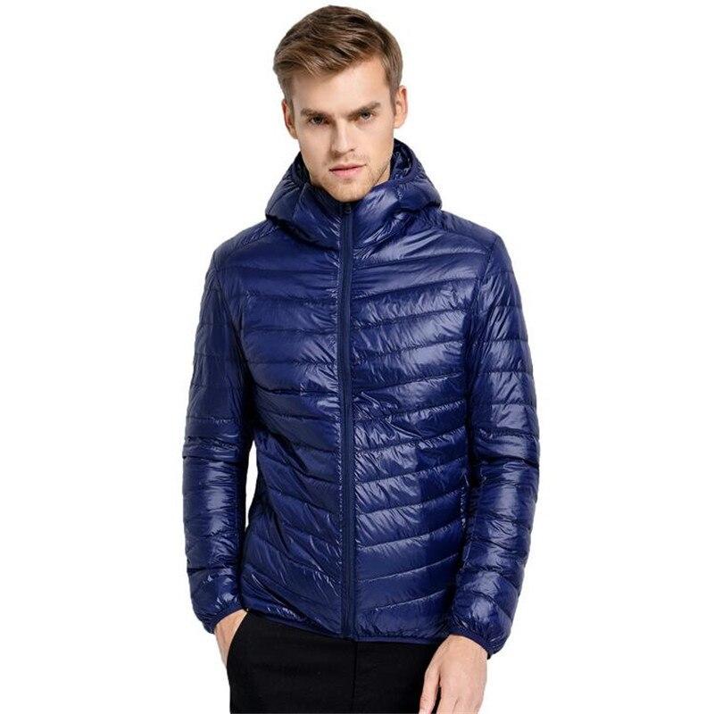 New Winter Down Ultralight Jacket Men White Duck Down Jacket Men Spring Autumn Windproof Male Casual Hooded Parkas Coat 6XL 7XL