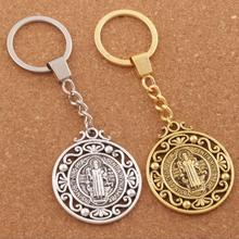 saint Christopher Keychain Protect Our Travels Medal Key Chain 2Colors 30mm rings K1787