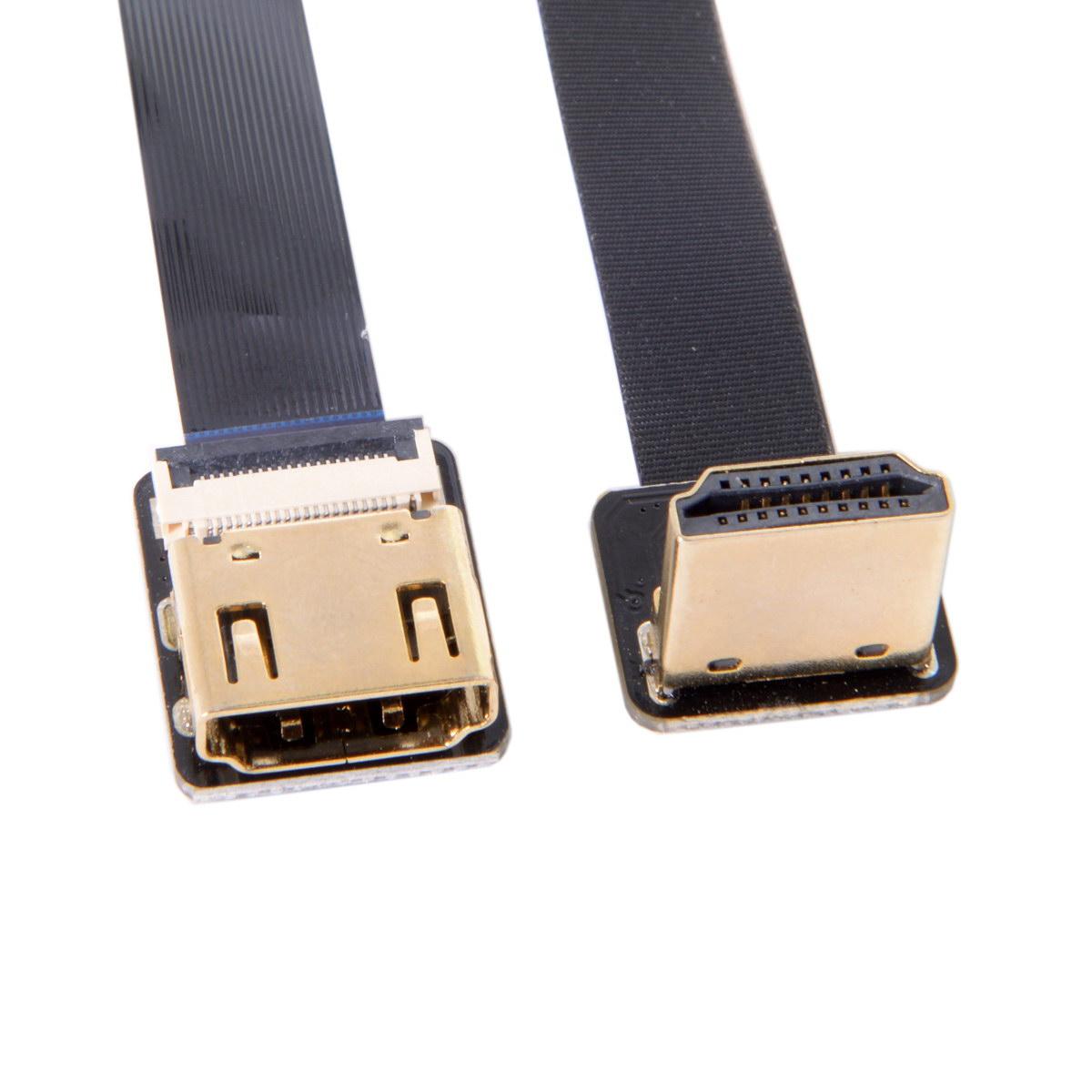 10 pcs/lot 20cm 50cm CYFPV HDMI mâle à femelle FPC câble plat pour caméra HDTV Multicopter photographie aérienne noir vers le bas
