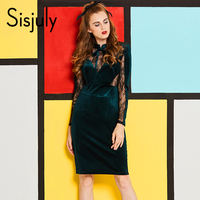 Sisjuly 1950s Vintage Bodycon Dress Mesh See Through Patchwork Lace Bowknot Stand Collar Plain Sexy Women