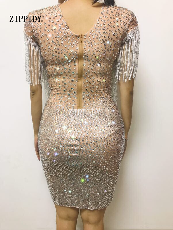 Sparkly Crystals Big Stretch Dress Women 39 s Evening Party Wear Full Rhinestones Tassel Dress Prom Birthday Celebrate Outfit in Dresses from Women 39 s Clothing