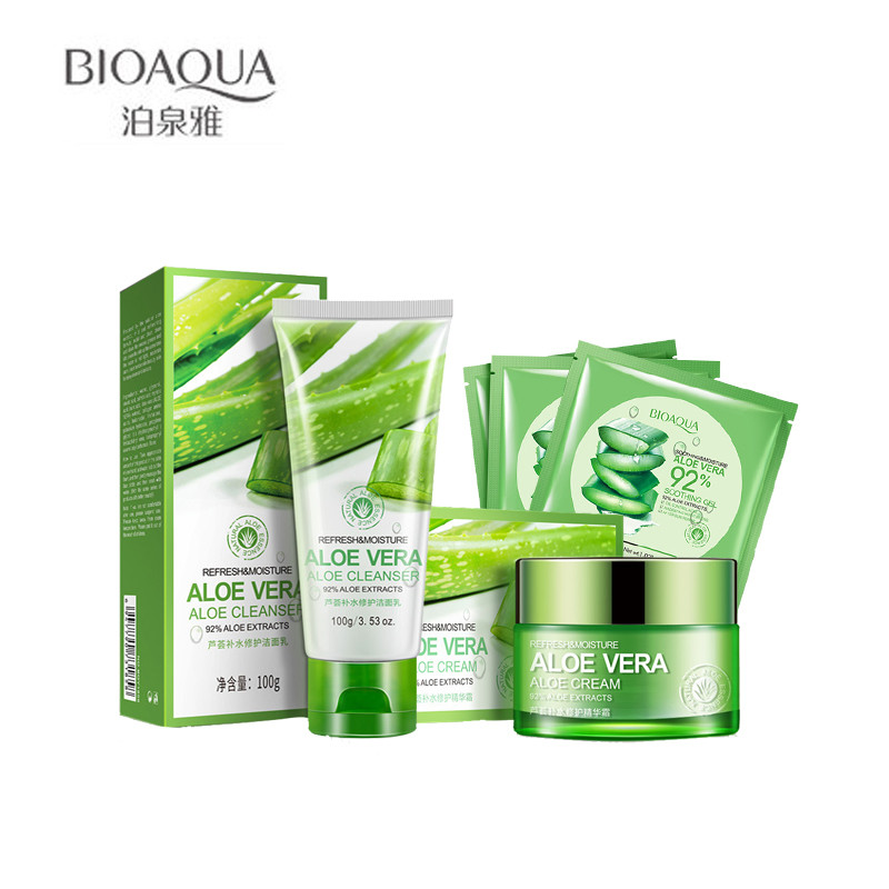 BIOAQUA 5Pcs/lot Aloe Vera Acne Treatment Hydrating Moisturizing Face Cream & Facial Cleanser Mask *3 Repair Skin Set