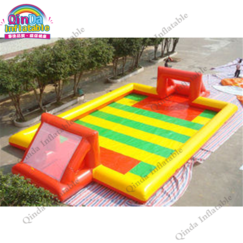 Funny Soccer Games Inflatable Soccer Court Portable Inflatable Bouncy Football Field For Rental Indoor Soccer Course Training super funny elephant shape inflatable games kids slide toy for outdoor