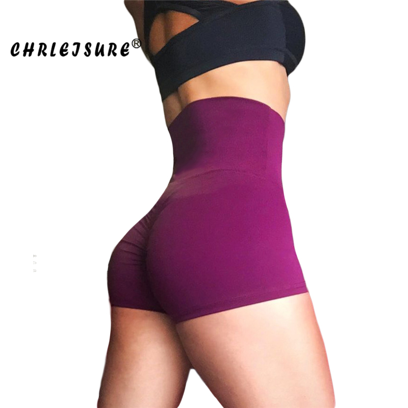 Chrleisure High Waist Shorts Women Polyester Solid Folds Short Pants Breathable Push Up Work Out Female Shorts #5