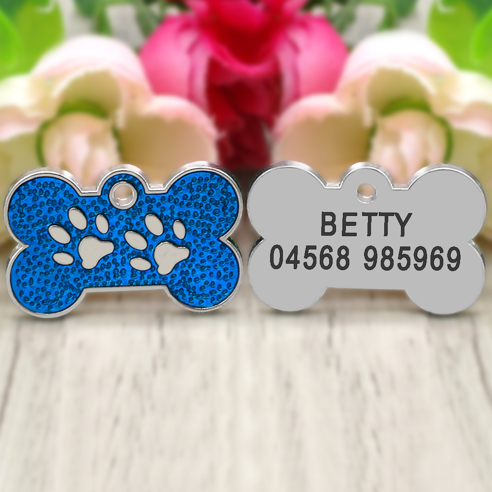 Personalized Dog Tags Engraved Cat Puppy Pet ID Name Collar Tag Pendant Pet Accessories Bone/Paw Glitter 27