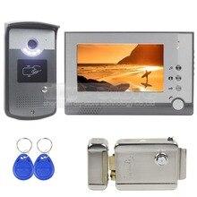 DIYSECUR Electric Lock 7 inch Color Video Door Phone Visual Intercom Doorbell Card Key Reader RFID LED Night Vision Camera 1 V 1