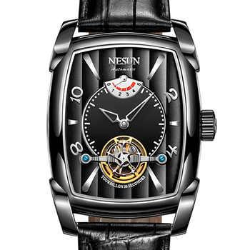 Nesun Tourbillion Automatic Mechanical Watch Skeleton Watch Men Luxury Brand Men\'s Watches Waterproof relogio masculino N9039-2 - DISCOUNT ITEM  51 OFF Watches