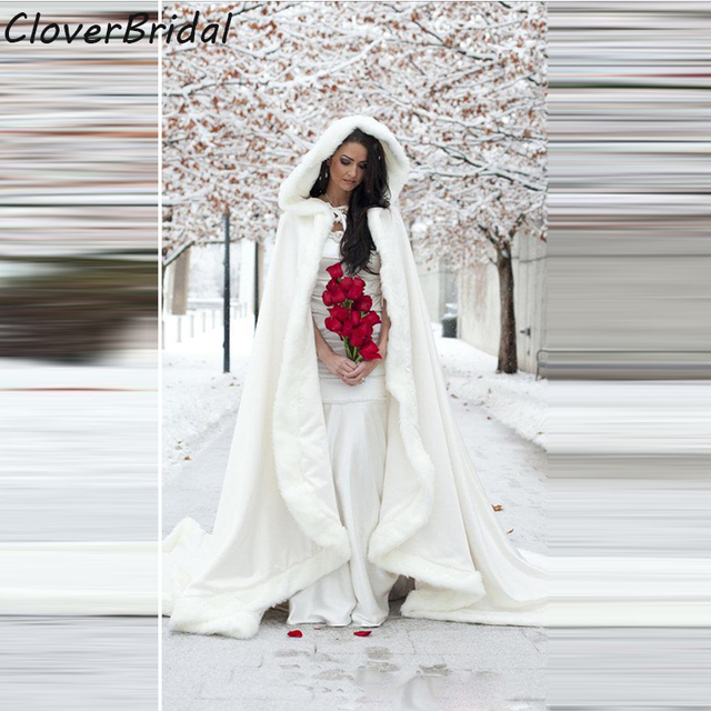 22 meters white wedding cloaks 2017 hooded bridal cape with train 22 meters white wedding cloaks 2017 hooded bridal cape with train faux fur winter wedding accressories junglespirit Image collections